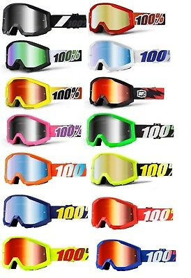 100% Strata Goggles Solid Color Frame Mirrored Lens Adult ATV MX Offroad Goggles