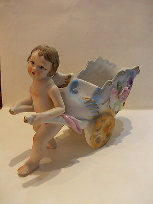 Vintage bisque ornament angel cherub planter - biscuit engel met bloemen kar