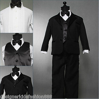 Well tailored infant baby boy Black tuxedo formal suit party size 12-18 months