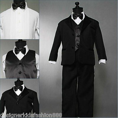 Well tailored toddler baby boy Black tuxedo wedding formal suit party size 3T
