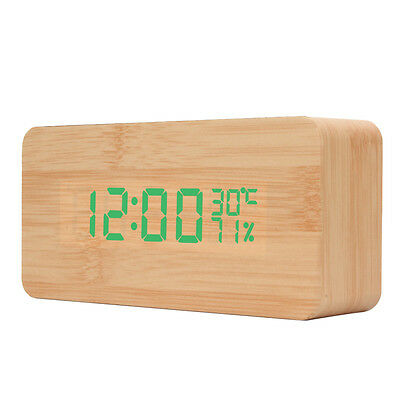 Wooden Digital LED Alarm Clock Voice Control Time Calendar Thermometer Humidity