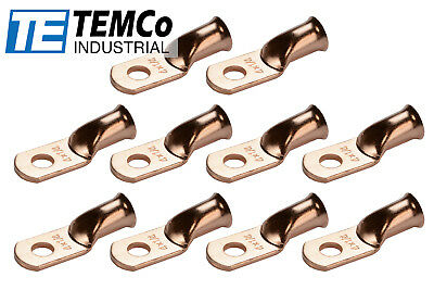 """10 Lot 4 AWG 1/4"""" Hole Ring Terminal Lug Bare Copper Uninsulated Gauge"""