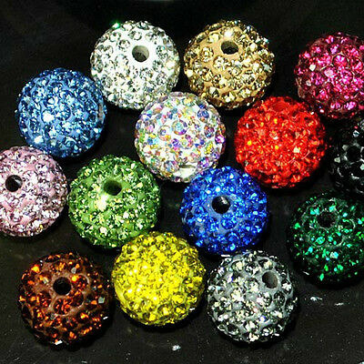 6MM-14MM 20Pcs Czech Crystal Rhinestones Pave Clay Round Disco Ball Spacer Beads