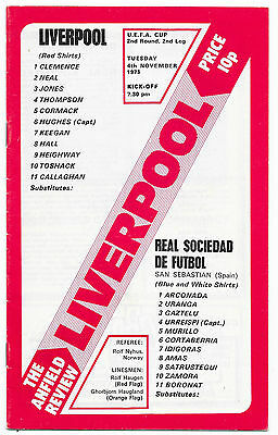 Liverpool v Real Sociedad, 1975/76 - UEFA Cup 2nd Round Match Programme.