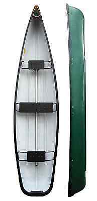 Three Person Open Canoe - Supports Motor - 458cm 15ft Long - Green - Riber