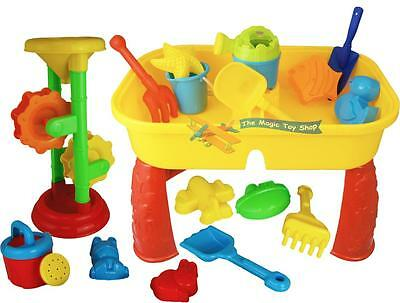 2 in 1 Sand and Water Table & Mill Play Set Garden Sandpit Toy Spade Bucket