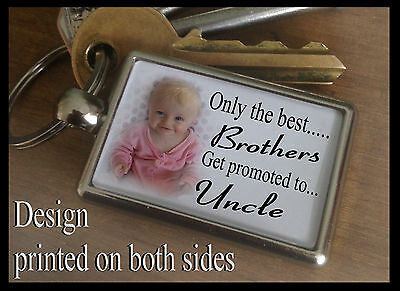 Metal keyring key fob, Personalised any photo, Birthday gift, Uncle Brother.