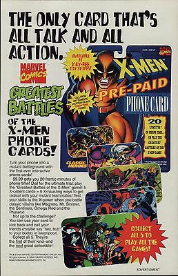 """1994 Marvel Comics """"Greatest Battles of the X-MEN pre-paid phone card print ad"""