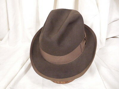 Classic royal stetson dark brown fedora hat w chocolate band brim trim 7 1 8 for Olive garden never ending classics prices