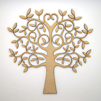 Wooden MDF Tree Shape blank,Family Tree,Wedding,Guestbook,Crafting - FREE hearts