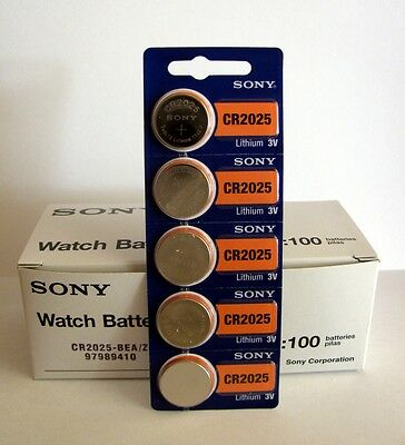 5 NEW SONY CR2025 3V Lithium Coin Battery Expire 2027 FRESHLY NEW - USA Seller