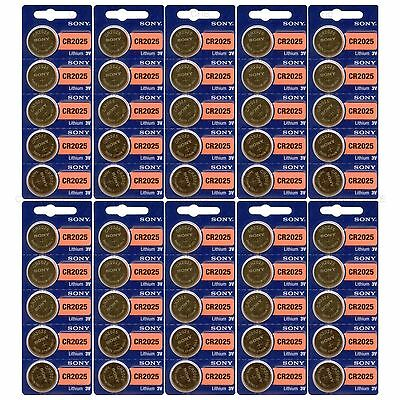 50 NEW SONY CR2025 3V Lithium Coin Battery Expire 2027 FRESHLY NEW - USA Seller