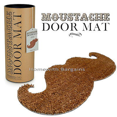 "Movember Doormat ""Handlebar Moustache"" Quality Coir Door Floor Mat"