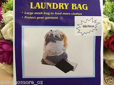 48 X 74cm Large White Mesh Laundry Clothes Storage Carry Bag Travel Camping NEW
