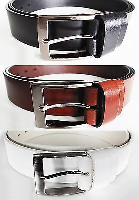 CM8 Mens Real Genuine Leather White Belt 1.5 Wide S-XL Thick Long Casual Jeans