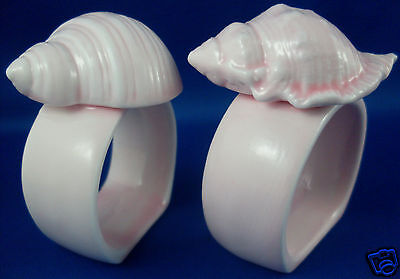 RARE Vintage PINK Porcelain SHELL Napkin Holders Duo VG Beach Napkin Rings in Au