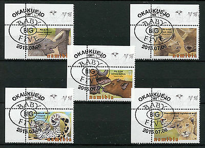 Namibia 2015 CTO Baby Big Five 5v Set Elephants Rhinos Lions Leopards Buffalo