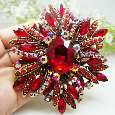 Vintage Style Elegant Flower Gold-tone Large Brooch Pin Red Rhinestone  Crystal a007a761d4d8
