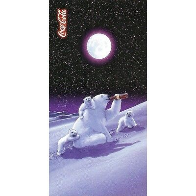 "Serviette de plage Drap de bain Coca Cola Ours polaire ""Moonlight"" beach towel"