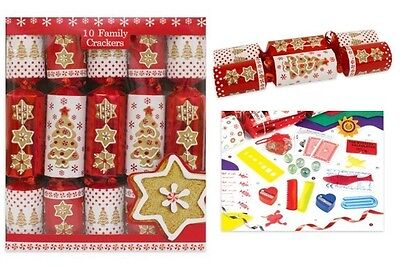 "Family Crackers (Pack of 10) 12"" Red and White Christmas Crackers- Gingerbread"