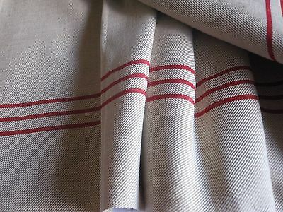 ANTIQUE FRENCH COTTON TWILL FABRIC - RED STRIPED TOWEL FABRIC- Unused- 3,6Yards