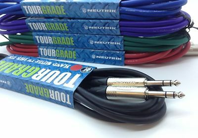 "Neutrik Stereo Jack Cable 1/4"" TRS Jack to Jack Lead 6.3mm Balanced ALL LENGTH'S"