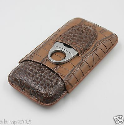 NEW COHIBA Brown Leather Croco Pattern 3 Tube Cigar Holder Case with Cutter Set