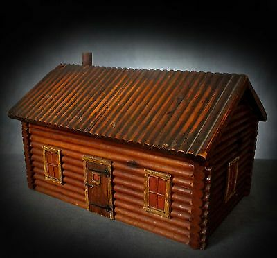 WONDERFUL EARLY 20th. C AMERICANA LOG CABIN WORK BOX by McGRAW BOX Co. NEW YORK