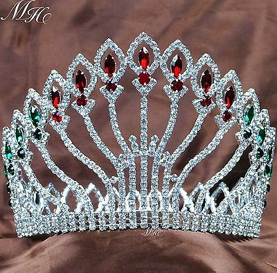 """Multi-color 5"""" Large Tiara Crown Rhinestone Crystal Wedding Pageant Party Prom"""