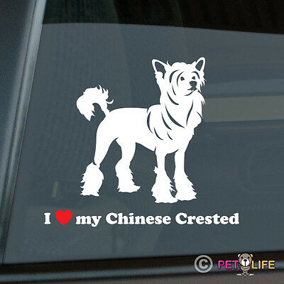 I Love My Chinese Crested Sticker Die Cut Vinyl - Puff
