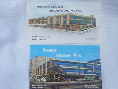 Vintage NEW ORLEANS TAMANACA DOWNTOWN MOTEL POSTCARDS / 1950s / Lot of 2