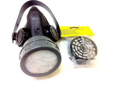 Safety Respirator Mask Spraying Paint Dust Chemical Gas Poison Farm 2 Cartridges