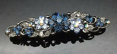 Exquisite Blue Gray Diamante Wedding Crystal Hair Comb Clip Barrette 7cm Bridal