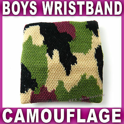 Boys camouflage WRISTBAND Knitted Sweatband wrist band army military retro NEW