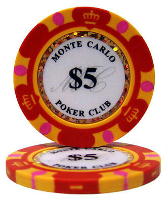 50 Red $5 Monte Carlo 14g Clay Poker Chips New - Buy 2, Get 1 Free