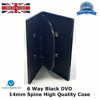 10 x 6 Way Black DVD 14mm Spine Holds 6 Discs Empty New Replacement Slim Case