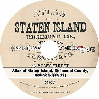 1887 Atlas of Staten Island, Richmond County, New York - Plat Maps Book on CD