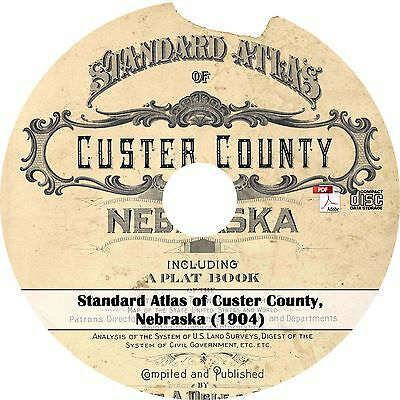 1904 Atlas & Plat Book of Custer County, Nebraska - History Genealogy Maps CD