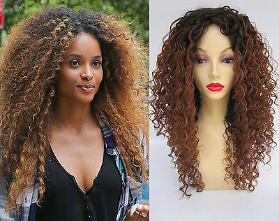 Deluxe Ciara Long Curly Afro Brown Highlighted Heat Resistant Fashion Wig