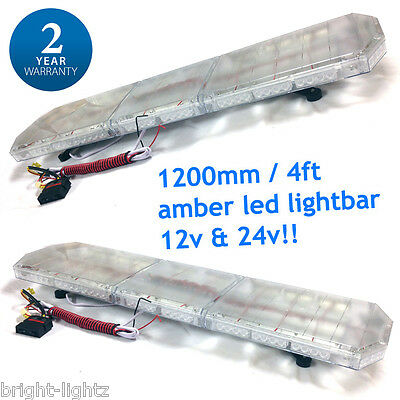 "1200Mm 120Cm 48"" Led Amber Light Bar Strobe Beacon Recovery Vehicle Flashing 88W"