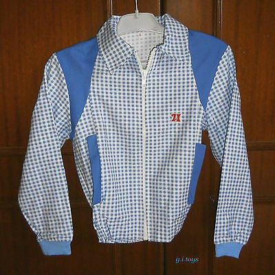BOYS' SCHOOL APRON (1) BLUE CHECKED jacket NEW VTG MADE IN GREECE 70's GREEK
