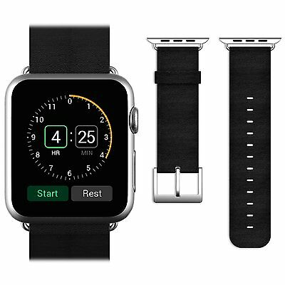 Black Band Genuine Leather Strap Wrist Belt Replacement For Apple Watch 42mm