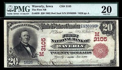 $20  1902 Red Seal  The First National Bank of Waverly, Iowa  CH# 3105  FR 639
