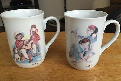 Set of 2 Norman Rockwell Collector Mugs