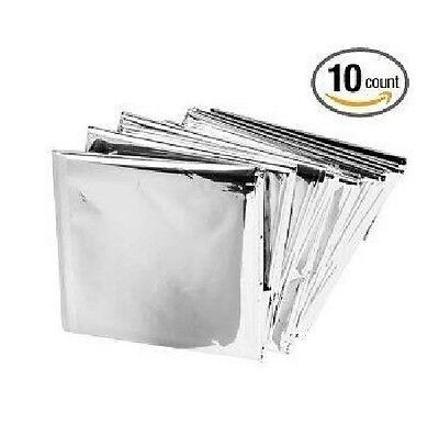 Emergency Mylar Thermal Blankets (Pack of 10), New, Free Shipping ! Large