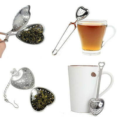 Heart Loose Tea Infuser Strainer Stainless Steel Metal Teaspoon Filter Diffuser