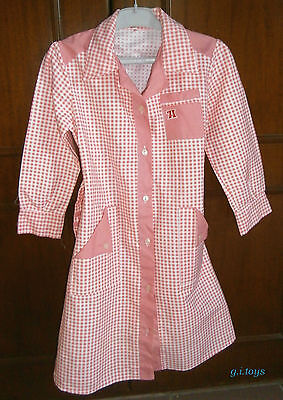 GIRLS' SCHOOL APRON (2) PINK CHECKED BUTTON DOWN SIZE 65 NEW MADE IN GREECE 70's