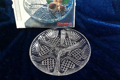 Vintage Italian plate Selecta divided pineapple cut glass dish nibbles 19cm box