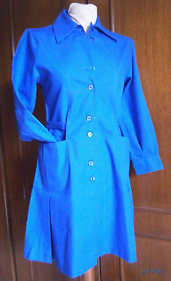 GIRLS' BLUE SCHOOL APRON (12) BUTTON DOWN SIZE 85 GREEK 70's MADE IN GREECE