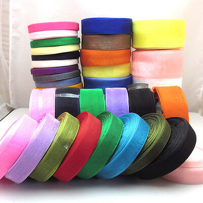 Lots Upick 50Yard/roll Mix Color/Size Organza Ribbon DIY Craft Wedding